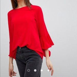 ASOS red blouse